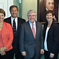 Jean Pauk (second from left) met with former Wisconsin Governor Tommy Thompson (left), and former Nebraska Governor Ben Nelson (fourth from left) during the Midwest Council Board Meeting and Reception.